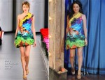 Lucy Liu In Mary Katrantzou - Late Night With Jimmy Fallon