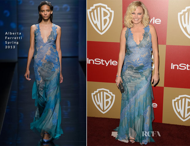 Malin Akerman In Alberta Ferretti - Warner Bros And InStyle Golden Globe Awards After Party