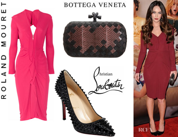 Megan Fox's Roland Mouret Darch Open-Back Dress, Christian Louboutin Pigalle Spikes Heels And Bottega Veneta Knot Intrecciato Metal Snakeskin Clutch