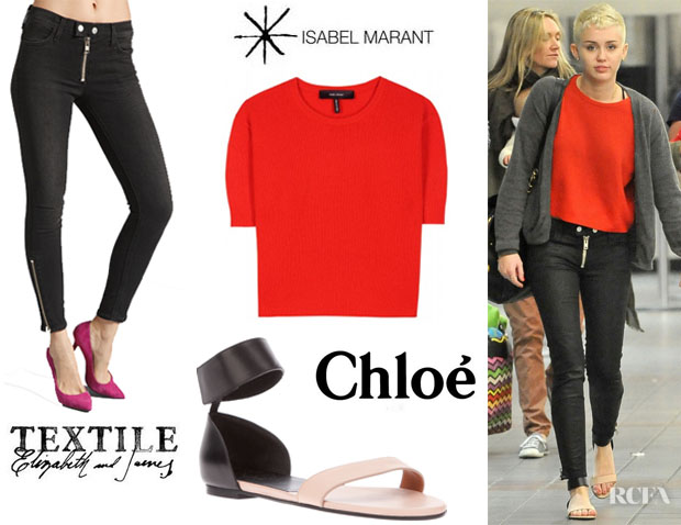 Miley Cyrus' Isabel Marant Chai Cropped Cashmere Pullover, TEXTILE Elizabeth and James Cooper Zip Skinny Jeans And Chloé Bi-Colour Flat Sandals