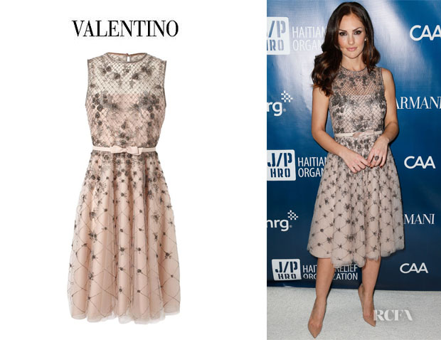 Minka Kelly's Valentino Embellished Mesh And Organza Dress