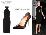 Miranda Kerr's Giambattista Valli Cady Halter Dress And Manolo Blahnik Leather Pumps