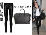 Miranda Kerr's Helmut Lang Stretch-Leather Leggings Style Pants And Givenchy Antigona Duffel