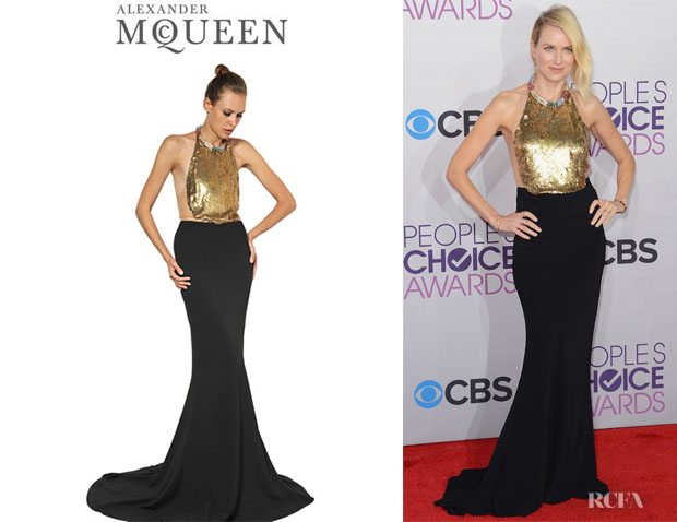 Naomi Watts' Alexander McQueen Jewelled Leaf Crepe Long Dress