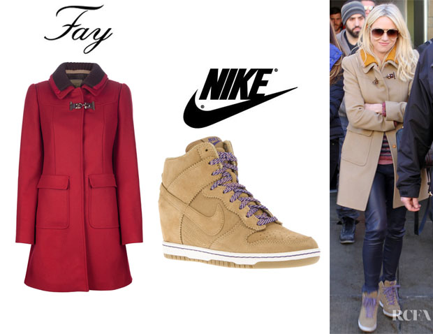 Naomi Watts' Fay Single Breasted Coat And Nike Dunk Wedge Hi-Top Sneaker