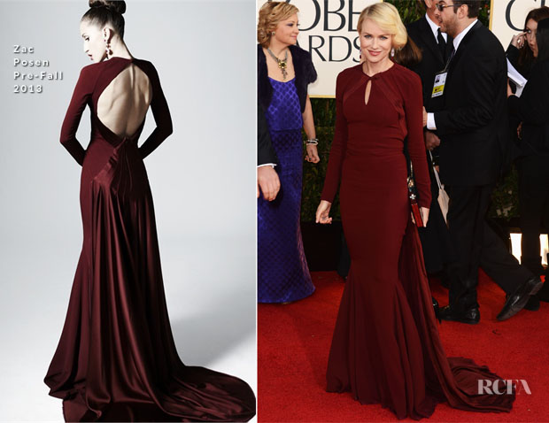 Naomi Watts in Zac Posen - 2013 Golden Globe Awards