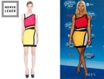 Nicki Minaj's Hervé Léger Colour Block Bandage Dress