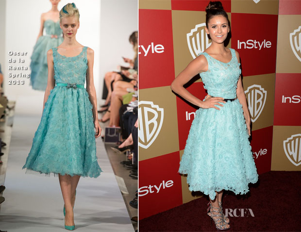 Nina Dobrev In Oscar de la Renta - Warner Bros And InStyle Golden Globe Awards After Party