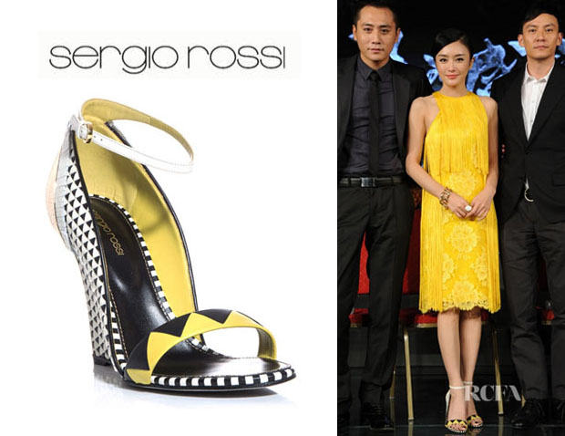 Qin Lan's Sergio Rossi Clash Tri Colour Wedge Sandals