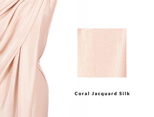 Coral Jacquard Silk