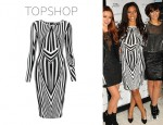 Rochelle Wiseman's Topshop Black And White Print Bodycon Dress