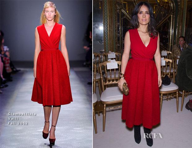Salma Hayek In Giambattista Valli - Front Row @ Giambattista Valli Spring 2013 Couture