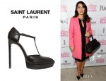 Salma Hayek's Saint Laurent Janis T Bar Leather Pumps