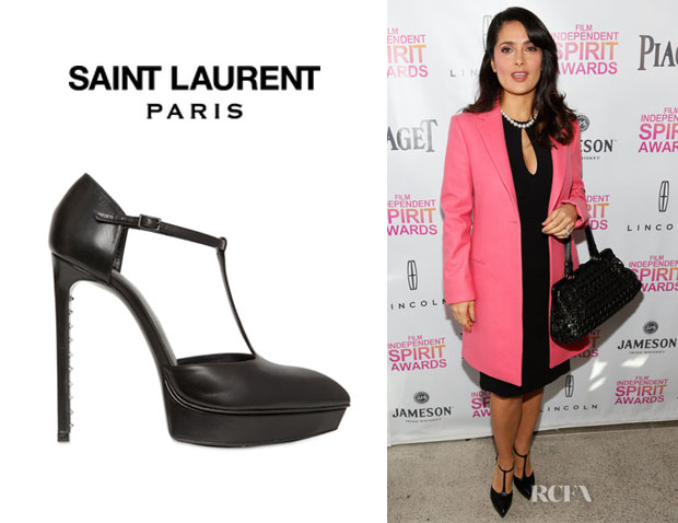 Salma Hayek's Saint Laurent Paris Janis T Bar Leather Pumps
