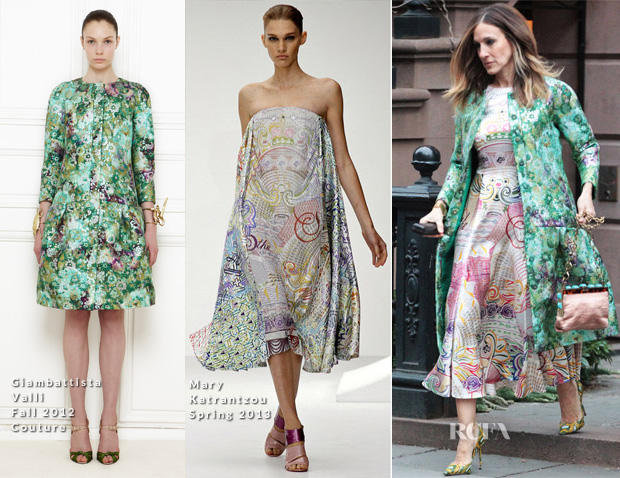 Sarah-Jessica-Parker-In-Giambattista-Valli-Couture-Mary-Katrantzou Out In New York