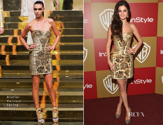 Selena Gomez In Atelier Versace - Warner Bros and InStyle Golden Globe Awards After Party