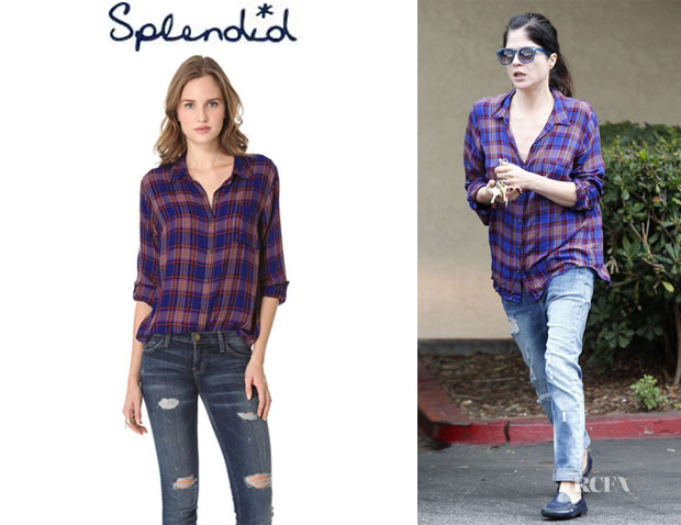 Selma Blair's Splendid Charlee Plaid Blouse