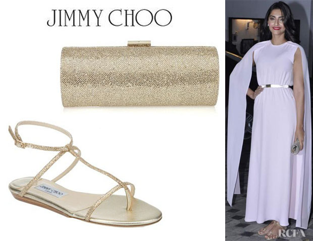Sonam Kapoor's Jimmy Choo Tube Clutch And Jimmy Choo Fiona Sandals