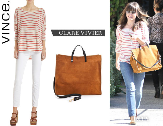 Sophia Bush's Vince Striped Cashmere Sweater And Clare Vivier Suede Tote