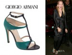 Uma Thurman's Giorgio Armani T-Strap Open-Toe Pumps