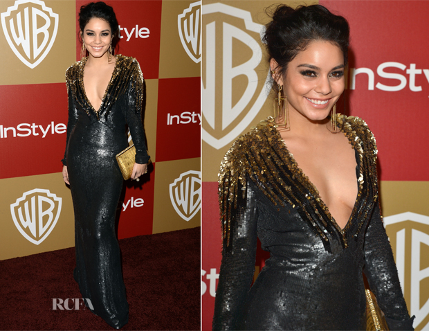 Vanessa Hudgens In Jenny Packham - Warner Bros and InStyle Golden Globe Awards After Party
