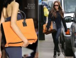 Victoria Beckham Totes Her Large Bag Round London