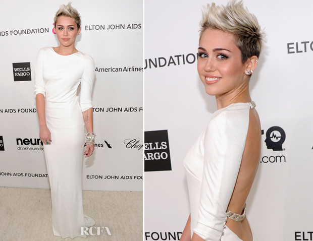 Miley Cyrus In Azzaro - 2013 Elton John AIDS Foundation Oscars Party