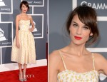 Alexa Chung In Valentino Red - 2013 Grammy Awards