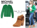 Alessandra Ambrosio's MICHAEL Michael Kors Crew Neck Jumper And Rag & Bone 'Harrow' Ankle Boots