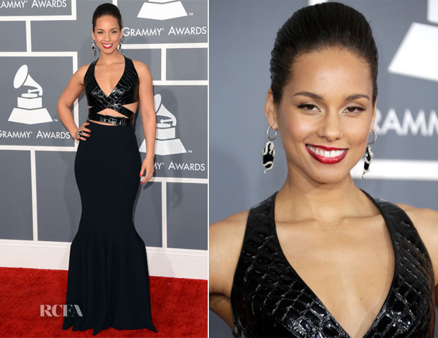 Alicia Keys In Azzedine Alaia - 2013 Grammy Awards