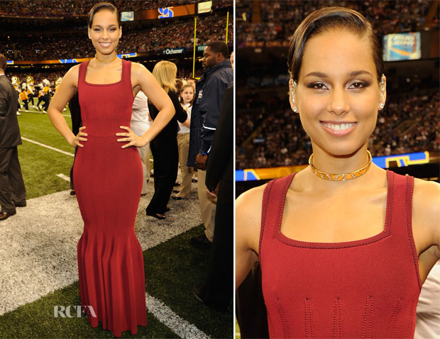 Alicia Keys In Azzedine Alaia - Super Bowl XLVII