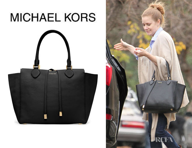 Sale Michael Kors Miranda Totes - 2013 02 18 Amy Adams Michael Kors Miranda Pebbled Tote