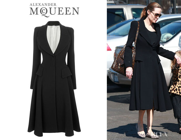 Angelina Jolie's Alexander McQueen Crepe Wool Riding Coat