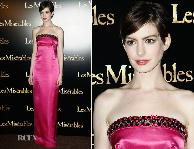 Anne Hathaway In Prada - 'Les Miserables' Paris Premiere