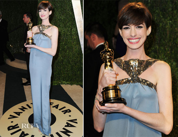 Anne Hathaway in Saint Laurent - 2013 Vanity Fair Party