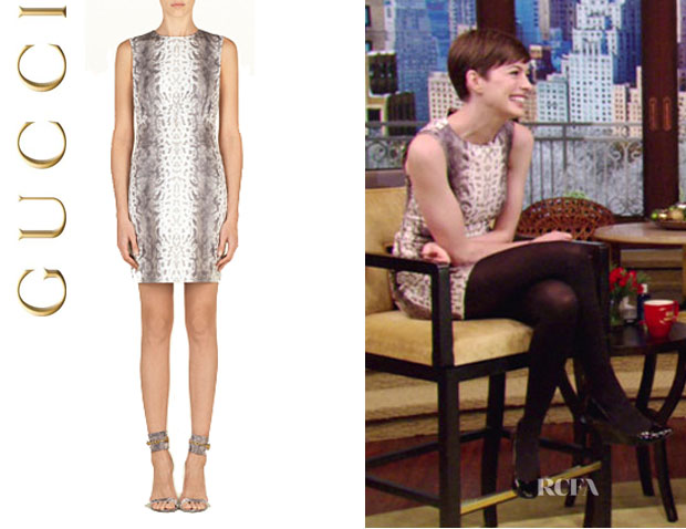 Anne Hathaway's Gucci 'Animalier Karung' Motif Printed Leather Dress