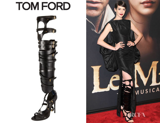 Anne Hathaway's Tom Ford Strappy Buckled Sandal Boots
