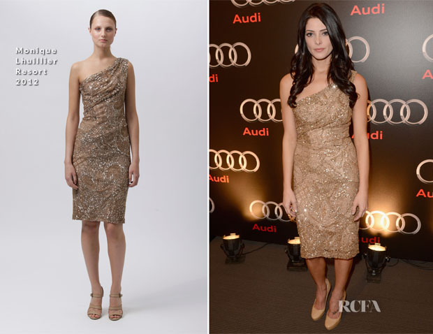 Ashley Greene In Monique Lhuillier - Audi Celebrates Superbowl 2013 Party