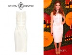 Ashley Greene's Antonio Berardi Paneled Crepe, Lace And Satin Dress