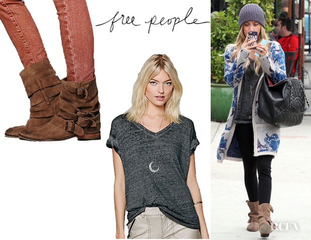 Ashley Tisdale's Free People 'Keep Me' Tee And Free People 'Sunbelt' Ankle Boots