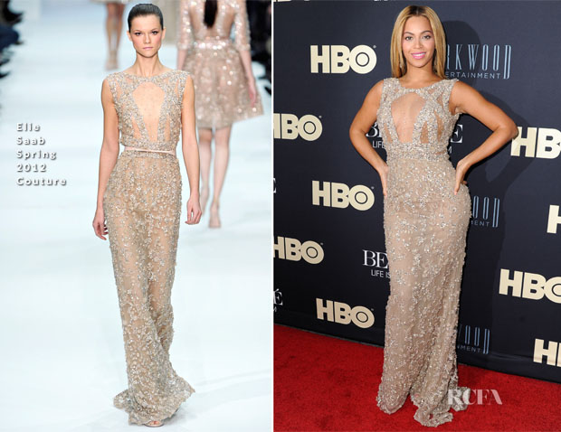 Beyonce Knowles In Elie Saab Couture - 'Beyonce Life Is But A Dream' New York Premiere