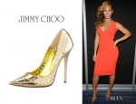 Beyonce Knowles' Jimmy Choo 'Mime' Perforated Mirrored Leather Pumps