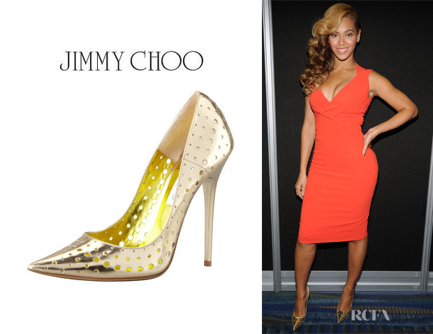 Beyonce Knowles' Jimmy Choo Mime Perforated Mirrored Leather Pumps