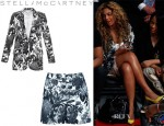 Beyonce Knowles' Stella McCartney 'Frazier' Flower Print Blazer And Stella McCartney Flower Print High Waist Shorts