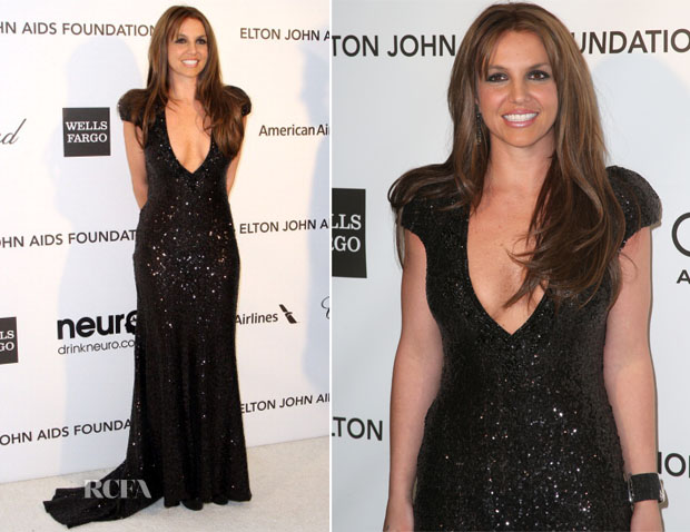 Britney Spears In Michael Cinco Couture - 2013 Elton John AIDS Foundation Oscars Party