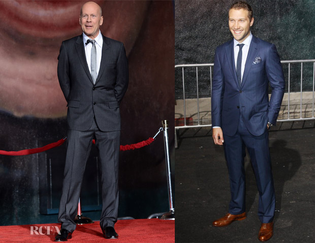 Bruce Willis In Dior Homme & Jia Courtney In Ermenegildo Zenga - 'A Good Day to Die Hard' Event