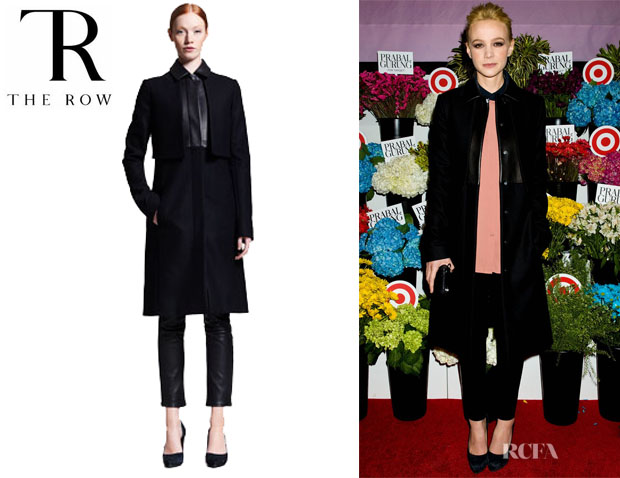 Carey Mulligan's The Row Long Leather Trim Coat