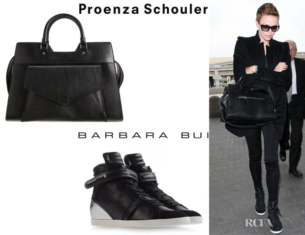 Charlize Theron's Proenza Schouler PS13 Leather Shopper And Barbara Bui High Top Sneakers