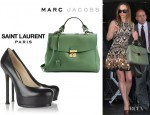 Christina Ricci's Saint Laurent 'Tribtoo' Pumps And Marc Jacobs 'The 1984' Satchel