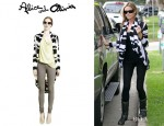 Denise Richards' Alice + Olivia Striped Wrap Cardigan